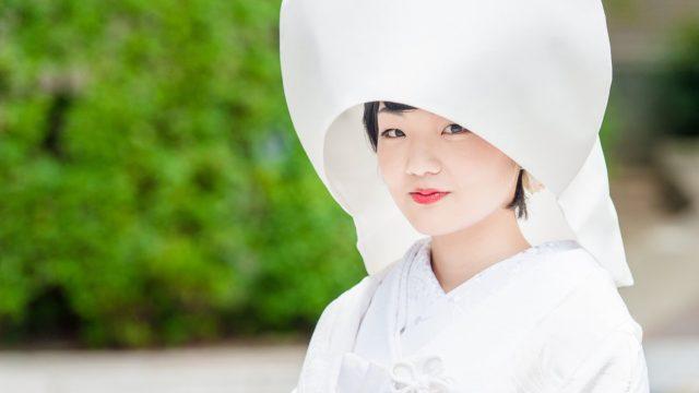 和風の結婚式衣装で定番の綿帽子